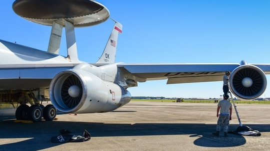 Using AI, DIU found they could predict 28 percent of unscheduled maintenance on the E-3 Sentry across six sub-systems and 32 percent of on the C-5 Galaxy across 10 sub-systems, according to the office's annual report. (Senior Master Sgt. Roger Parsons/U.S. Air National Guard)