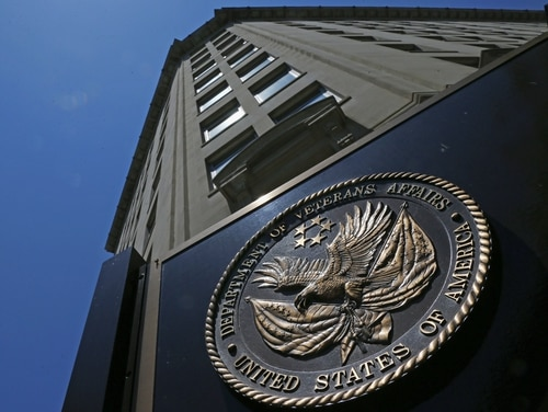 The seal fixed to the front of the Department of Veterans Affairs headquarters in Washington, D.C. is shown in June 2013. (Charles Dharapak/AP)