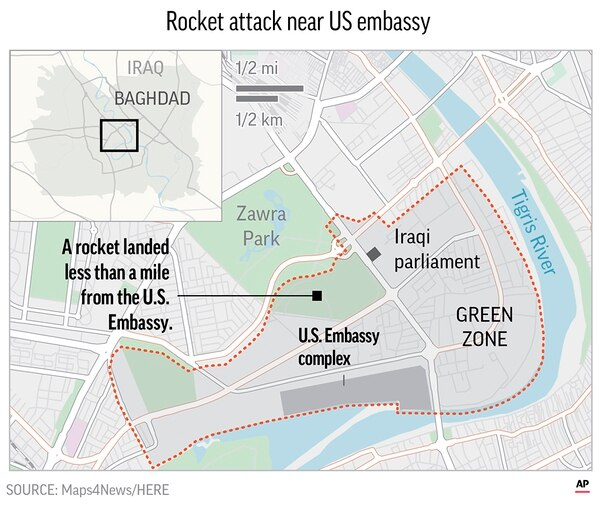Map locates the Green Zone in Baghdad, Iraq.