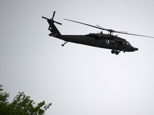An U.S. Black Hawk helicopter flies during a French-US
