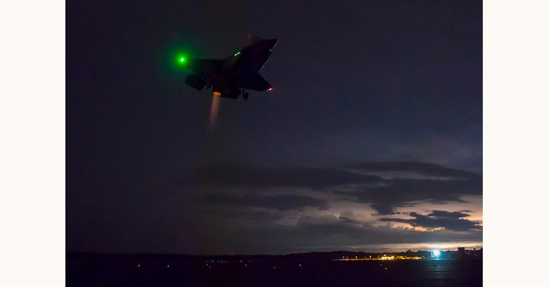 U.S. Marine Corps Maj. Michael Lippert and Peter Wilson, F-35 test pilots with the Patuxent River Integrated Test Force, conduct night field carrier landing practices Aug. 30, 2018, at Naval Air Station Patuxent River, Md. (Dane Wiedmann/F-35 Lightning II Pax River ITF)