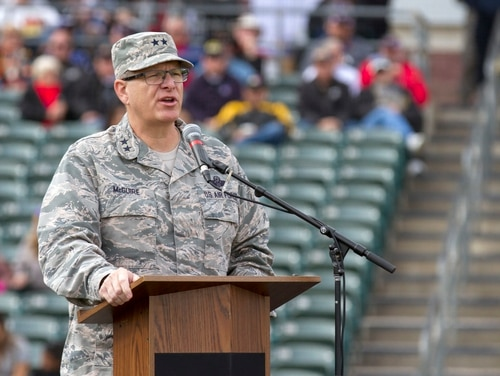Maj. Gen. Michael T. McGuire, the adjutant general of the Arizona National Guard, delivers comments to onlooking soldiers and airmen during the 2018 Arizona National Guard Muster on Dec. 2, 2018, at the Kino Sports Complex in Tucson, Ariz. (Sgt. Richard Hoppe/Army)