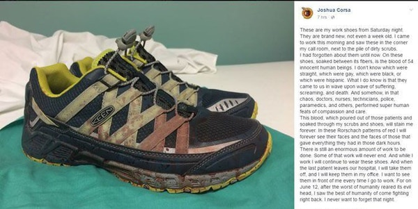 The bloody sneakers worn by Dr. Joshua Corsa while treating victims of the Orlando nightclub shooting. They became a viral symbol of the tragedy. He's pledged to wear them until all victims of the shooting leave the hospital. (Joshua Corsa via Facebook)