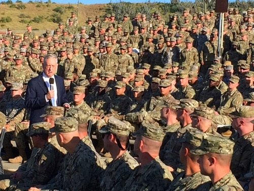 As the Pentagon rolled out a new policy targeting offensive language, including jokes, Defense Secretary Jim Mattis emphasized that the military has a rough, unique humor that is not about denigrating others. (Robert Burns/AP)