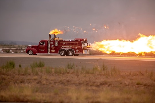 Aftershock, a jet powered firetruck, races down the flight line at the 2019 Marine Corps Air Station Miramar Air Show on MCAS Miramar, Calif., Sept. 27. (Lance Cpl. Robert Alejandre/Marine Corps)