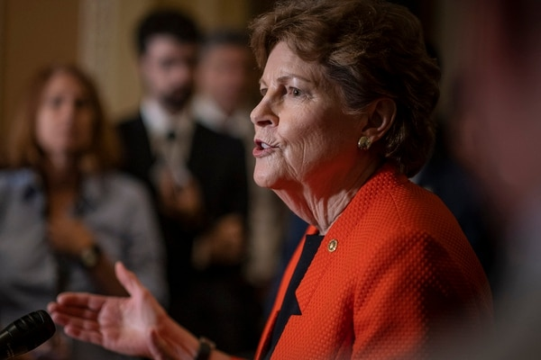 Sen. Jeanne Shaheen, D-N.H., speaks to the media during a press conference following the Senate Republican Leadership lunches on July 16, 2019, in Washington. (Pete Marovich/Getty Images)