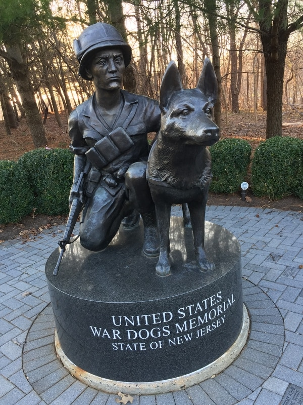 The military's first official commendation for military working dogs and their handlers is about to become official. The U.S. War Dog memorial in New Jersey is shown here. (Wikimedia Commons)