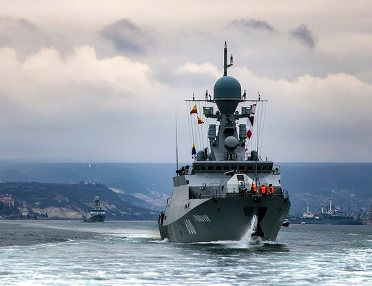This handout photo released on April 14, 2021, by Russian Defense Ministry Press Service shows Russian navy ships during drills in the Black Sea. (Russian Defense Ministry Press Service via AP)