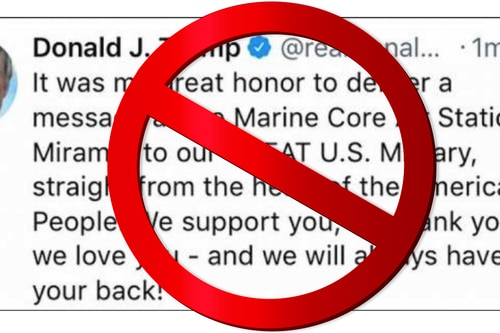 "It was in tweeting photos and praise to military that the president called the Marine Corps the ""Marine Core."""