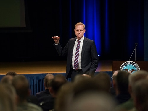 Deputy Secretary of Defense Patrick M. Shanahan provides information to military leaders during Q&A session at the Pentagon in Washington, D.C., Jan. 31, 2018. (DoD Photo by Tech Sgt. Vernon Young Jr.)