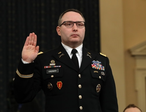 Lt. Col. Alexander Vindman, National Security Council director for European affairs, is sworn in to testify before the House Intelligence Committee on Capitol Hill Nov. 19, 2019, in Washington. (Chip Somodevilla/Getty Images)