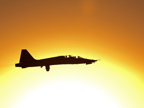 A student pilot from the 80th Flying Training Wing takes off at sunrise in a T-38 Talon at Sheppard Air Force Base, Texas. (Danny Webb/Air Force)