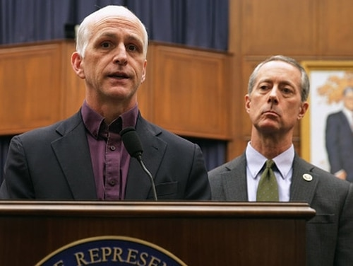 House Armed Services Committee Chairman Adam Smith, D-Wash., left, and ranking member Mac Thornberry, R-Texas, talk to reporters in late 2018. (Chip Somodevilla/Getty Images)