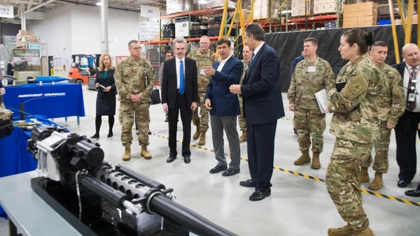 Secretary of the Army Mark Esper gets a tour of a Northrop Grumman facility during a visit to Redstone Arsenal, Ala., on Jan. 15, 2019. (Staff Sgt. Nicole Mejia/U.S. Army)