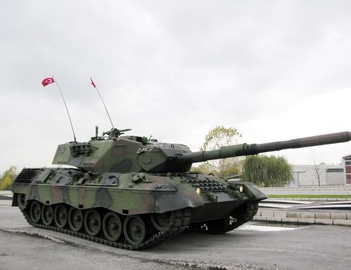 A Turkish Army Leopard 1 tank drives through a test range at a military base near the western town of Arifiye, Turkey, on Nov. 12, 2009. (Selcan Hacaoglu/AP)