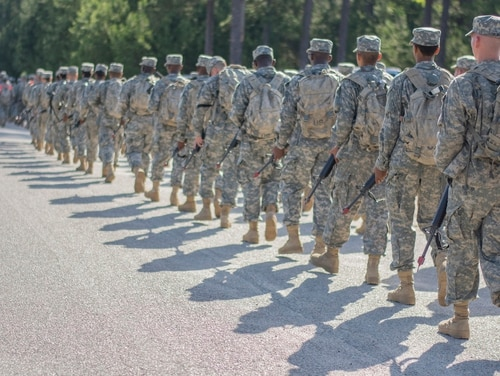 Army recruits march across Fort Jackson, S.C., June 13, 2015. (Sgt. Ken Scar/Army)