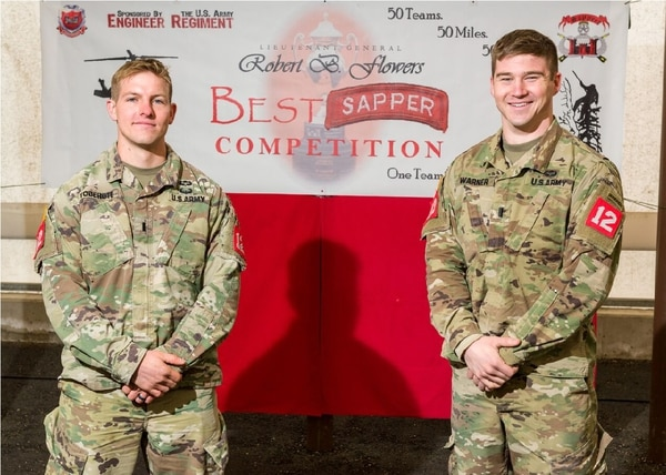 Combat engineers 1st Lt. Louis Tobergte and 1st Lt. Scott Warner competed as a team in the 2018 Best Sapper Competition. They came in third place among the teams competing. (Courtesy Mac Warner)