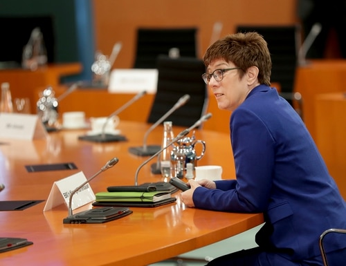 German Defence Minister Annegret Kramp-Karrenbauer speaks prior to the weekly cabinet meeting at the Chancellery in Berlin, Germany, Wednesday, July 8, 2020. (Michael Sohn/Pool via AP)