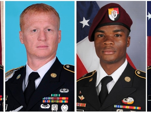 These images provided by the U.S. Army show, from left, Staff Sgt. Bryan C. Black, 35, of Puyallup, Wash.; Staff Sgt. Jeremiah W. Johnson, 39, of Springboro, Ohio; Sgt. La David Johnson of Miami Gardens, Fla.; and Staff Sgt. Dustin M. Wright, 29, of Lyons, Ga. All four were killed in Niger, when a joint patrol of American and Niger forces was ambushed on Oct. 4, 2017, by militants believed linked to the Islamic State group. The Mauritanian Nouakchott News Agency reported Friday, Jan. 12, 2018 that Abu al-Walid al-Sahrawi with the self-professed IS affiliate claimed responsibility for the Oct. 4 ambush about 120 miles (200 kilometers) north of Niger's capital, Niamey. (U.S. Army via AP)