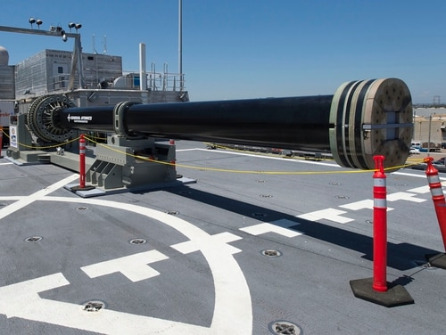 One of two electromagnetic railgun prototypes on display aboard joint high speed vessel USS Millinocket (JHSV 3) in port at Naval Base San Diego. Along with the U.S., China has been among the countries advancing the technologies, with recent photos suggesting China is prepping to test a electromagnetic railgun at sea. (U.S. Navy/Mass Communication Specialist 2nd Class Kristopher Kirsop)