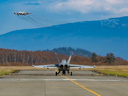 An EA-18G Growler taxis toward the runway on March 2 at Ault Field on Whidbey Island, Wash. (Chief Mass Communication Specialist Paul Seeber/Navy)