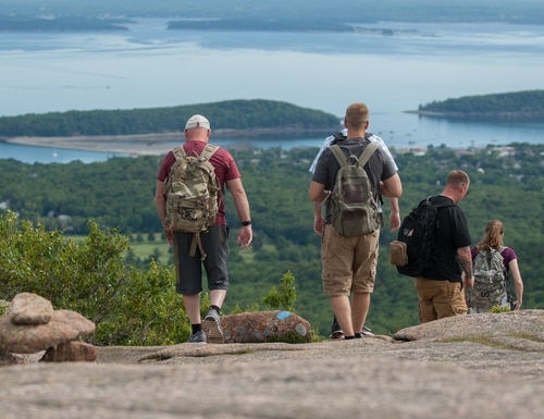 Soldiers from the Maine Army National Guard hike down Cadillac Mountain in Acadia National Park on July 14, 2017. (Spc. Jaod Dye/Army)
