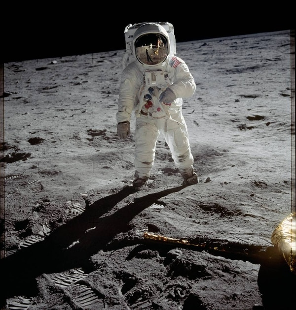 Astronaut Buzz Aldrin walks on the surface of the moon near the leg of the lunar module Eagle during the Apollo 11 mission. Mission commander Neil Armstrong took this photograph with a 70mm lunar surface camera. While astronauts Armstrong and Aldrin explored the Sea of Tranquility region of the moon, astronaut Michael Collins remained with the command and service modules in lunar orbit. (NASA)