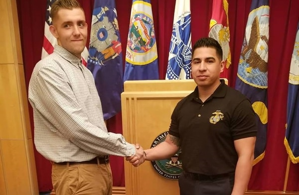Tyler Nelson (left) shed nearly 150 lbs to join the Corps. (Marine Corps)