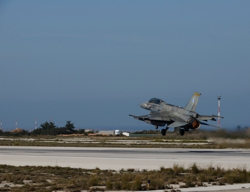 A Hellenic Air Force F-16 Fighting Falcon takes off during training at Souda Bay, Greece, on Jan. 28, 2016. (Staff Sgt. Christopher Ruano/U.S. Air Force)
