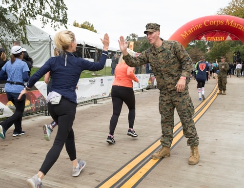 Participants from around the world take part in the 43rd annual running of the Marine Corps Marathon in 2018, traveling on a monumental course through Washington, D.C. and finishing at the Marine Corps War Memorial, Arlington, Virginia. (Staff Sgt. Alexandria Blanche)
