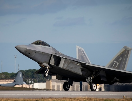 A 325th Fighter Wing F-22A Raptor touches down at Eglin Air Force Base, Fla., Nov. 20. An F-22 from that wing crashed May 15, 2020; its pilot safely ejected and sustained minor injuries. (Samuel King/Air Force)