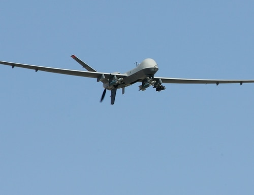CREECH AIR FORCE BASE, NV - AUGUST 08: An MQ-9 Reaper flies by on a training mission August 8, 2007 at Creech Air Force Base in Indian Springs, Nevada. The Reaper is the Air Force's first