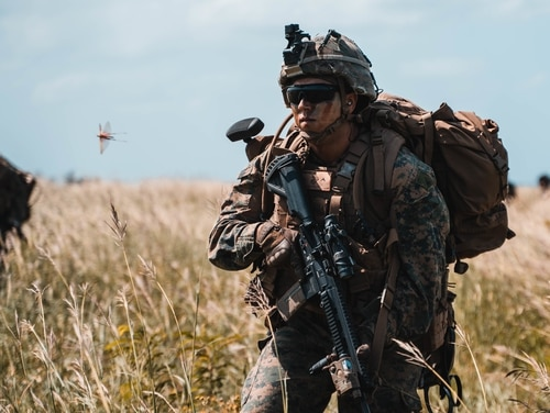 A U.S. Marine with 1st Battalion, 2d Marine Regiment, demonstrates expeditionary advanced basing capabilities Oct. 7 to 8, as part of Exercise Noble Fury, from Okinawa to Ie Shima and across surrounding waters. (Cpl. Josue Marquez/ Marine Corps)