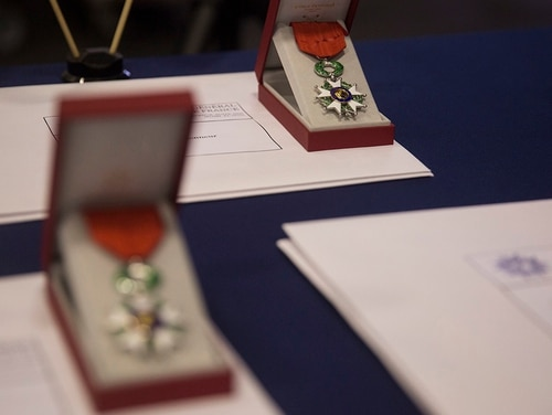 On Jan. 16, three St. Louis-area veterans received the Legion of Honor, France's most distinguished medal. Pictured: Legion of Honor medals wait to be pinned upon World War II veterans during a Legion of Honor ceremony in Fort Lauderdale, Fla., May 5, 2018. (Sgt. Justin T. Updegraff/Marine Corps)