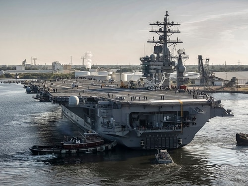 Two sailors, including one from the aircraft carrier Dwight D. Eisenhower, pleaded guilty in January to filming the private areas of shipmates without their consent (Shayne Hensley/Navy)