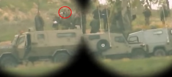 Barbara Opall-Rome, circled in red, in a Hamas surveillance video. Hamas shot the footage a few months before the 2014 Gaza War, but did not release it until after the war. Opall-Rome was the only reporter to accompany IDF Chief of Staff Benny Gantz that day at the Israel-Gaza border, where the IDF had just uncovered a cross-border tunnel.