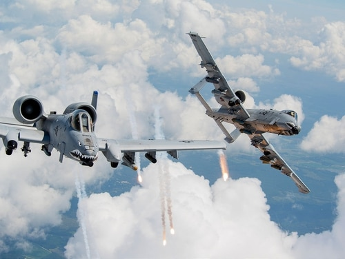 The A-10 Thunderbolt II provides close-air support for troops on the ground. (Air Force)