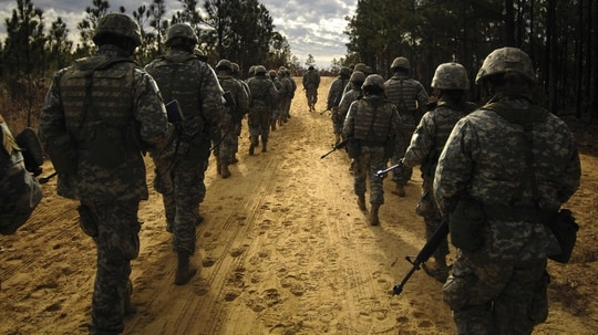 Army recruits practice patrol tactics while marching during basic training at Fort Jackson, S.C. (Staff Sgt. Shawn Weismiller/Air Force)