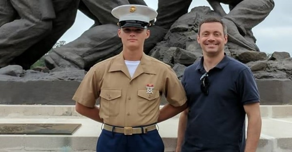 Pfc. Ethan Barclay-Weberpal was fatally stabbed by another Marine at the School of Infantry West on Jan. 16. His father, Scott Weberpal, right, shared this photo of his son on Facebook. (Family photo)