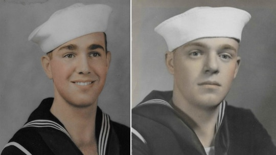 Navy Electrician's Mate 3rd Class William H. Trapp, left, and Navy Fire Controlman 2nd Class Harold F. Trapp (DPAA)