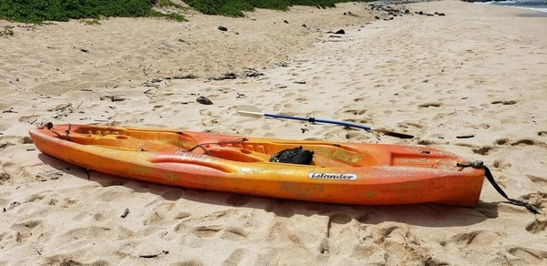 The Coast Guard needs help identifying the owner of an unmanned, adrift kayak found a couple hundred yards off Dillingham Air Field, North Shore, Oahu, Tuesday. (Coast Guard)