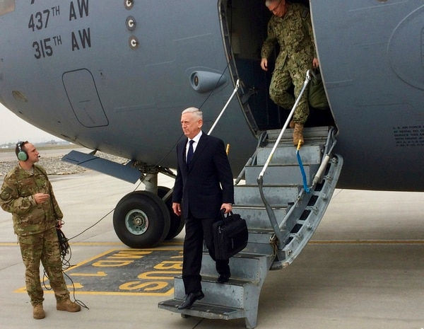 U.S. Defense Secretary Jim Mattis arrives in Kabul, Afghanistan on Tuesday, March 13, 2018. (Robert Burns/AP)