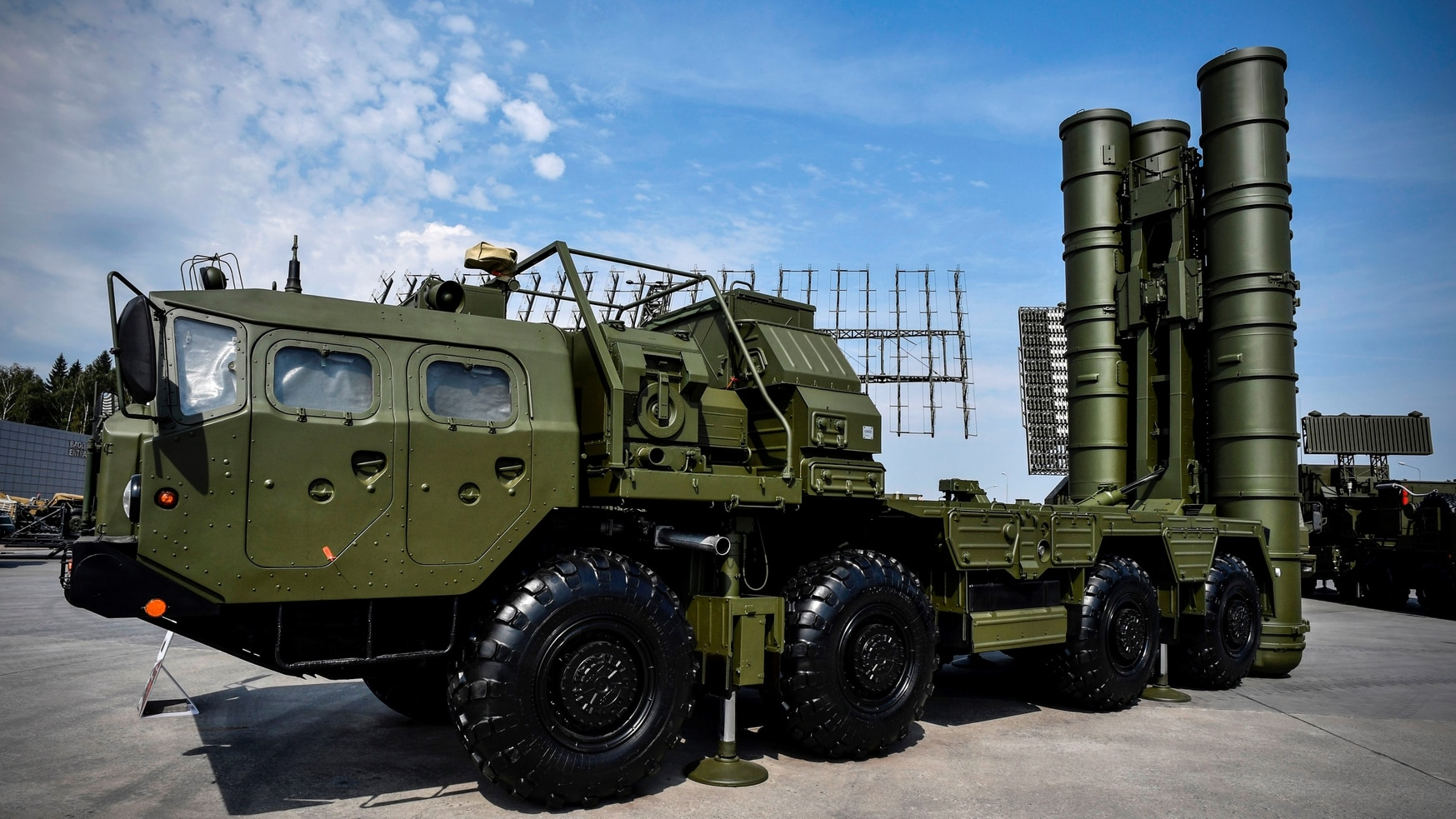 Russian S-400 air defense system, on display in 2017, is at the heart of a split between the U.S. and its NATO ally Turkey. (ALEXANDER NEMENOV/AFP via Getty Images)