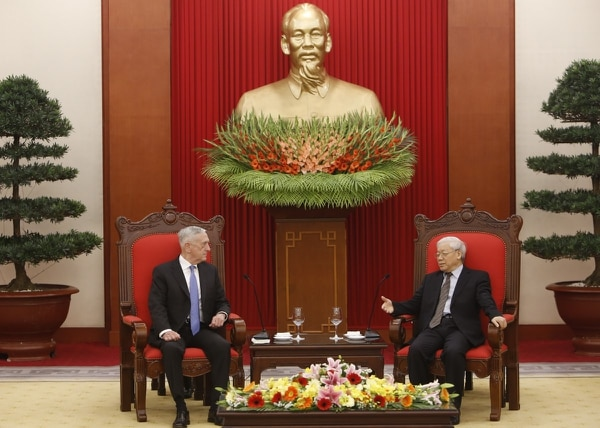 Secretary of Defense Jim Mattis, left, listens during talks with Vietnam's Communist Party General Secretary Nguyen Phu Trong Jan. 25, 2018, in Hanoi, Vietnam. (Tran Van Minh/AP)