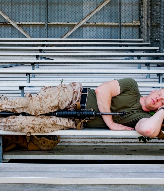 Warrant Officer Daniel Johnson takes a nap during a field training exercise during Warrant Officer Basic Course 1-19 on Marine Corps Base Quantico, Va., April 30, 2019. (Warrant Officer Kowshon Ye/Marine Corps)