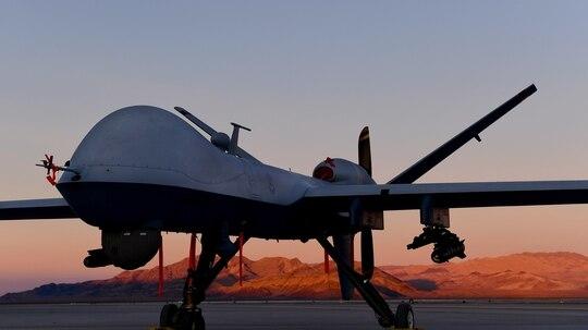 An MQ-9 Reaper sits on the flight line at Creech Air Force Base, Nevada, in December 2019. (Senior Airman Haley Stevens/Air Force)