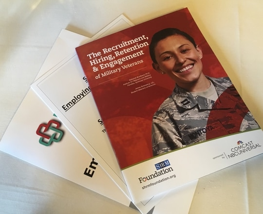 Handouts on veterans employment from the Employing U.S. Vets Conference held in New York City on Thursday. The event was co-hosted by Military Times and VETS Indexes. (Staff photo)