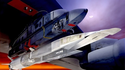 The X-51A Waverider, shown in this graphic under the wing of a B-52 Stratobomber, is powered by a Pratt Whitney Rocketdyne SJY61 scramjet engine. (U.S. Air Force)