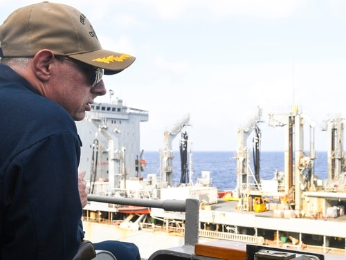 The guided-missile cruiser Antietam's former commanding officer, Capt. Tadd Gorman, observed the ship's replenishment-at-sea with the oiler Walter S. Diehl on July 9 in the South China Sea. (Mass Communication Specialist 1st Class Toni Burton/Navy)