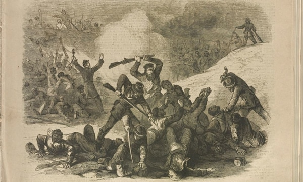 Rebel massacre of the Union troops after the surrender at Fort Pillow, April 12, 1864, from a sketch by Charles E. H. Bonwill. (Library of Congress)